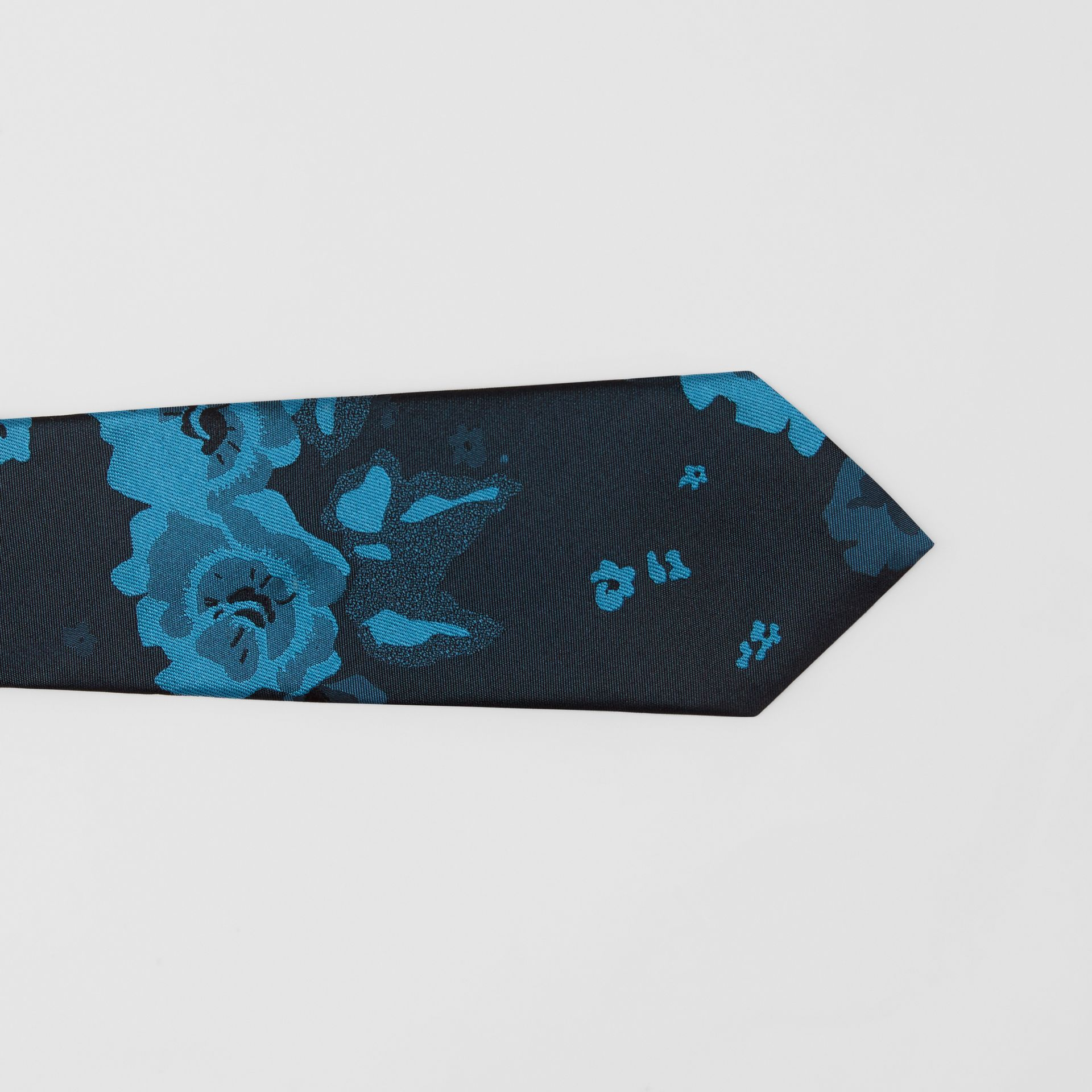 Slim Cut Floral Silk Tie in Dark Cyan - Men | Burberry - gallery image 1