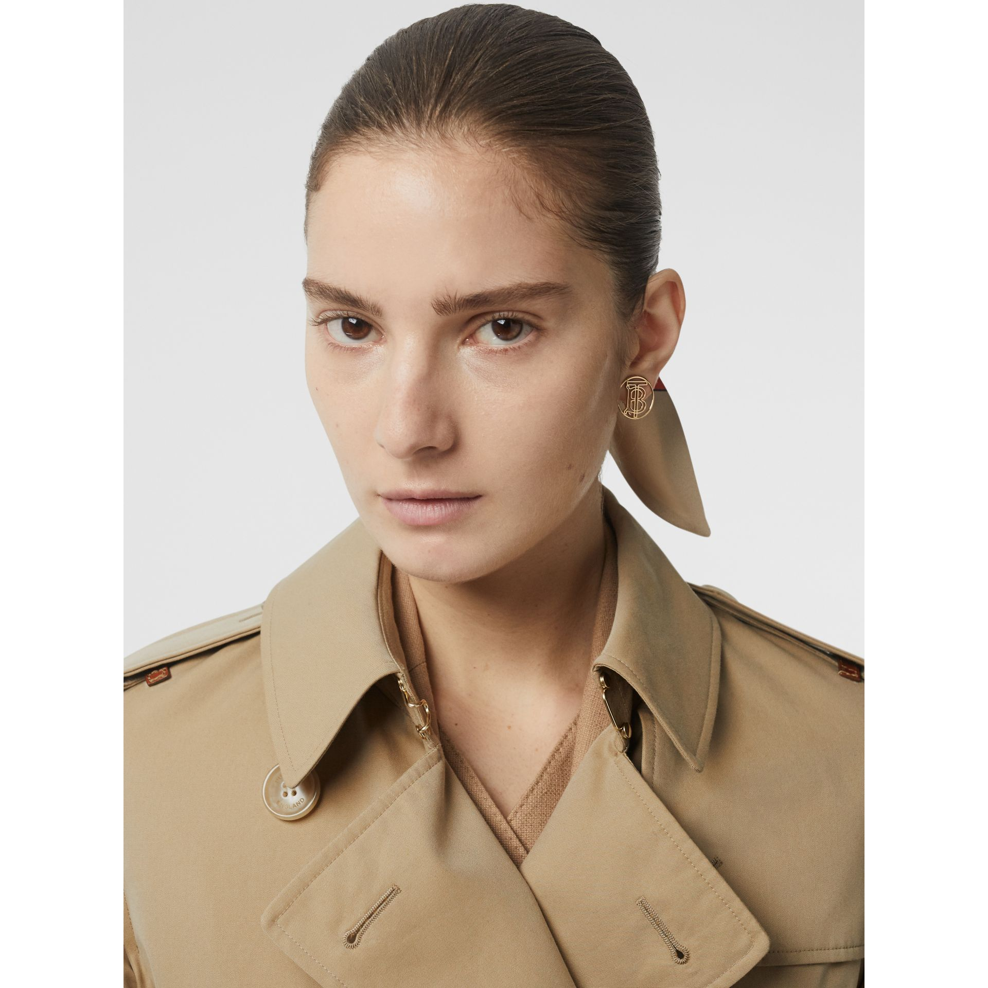 Leather Detail Cotton Gabardine Trench Coat in Honey - Women | Burberry - gallery image 1