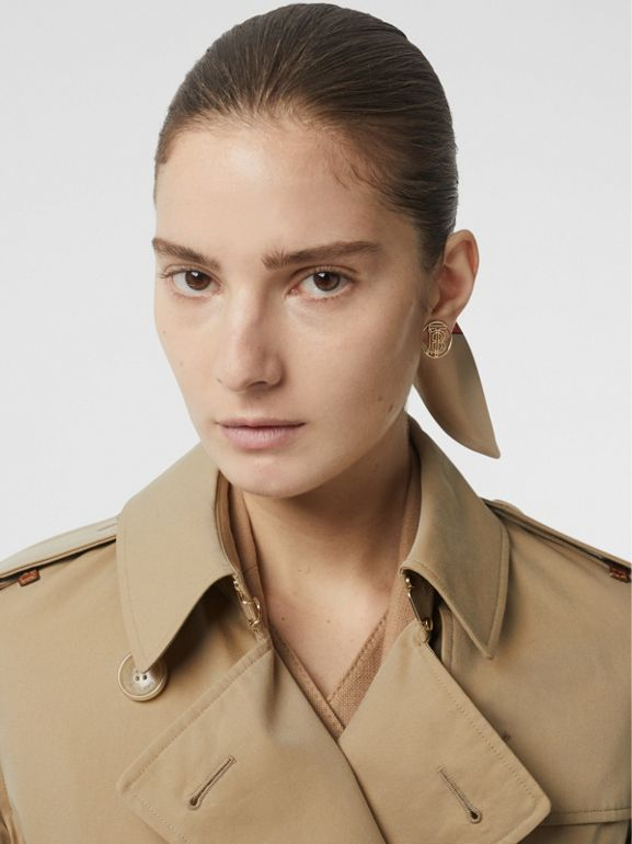 Leather Detail Cotton Gabardine Trench Coat in Honey - Women | Burberry - cell image 1