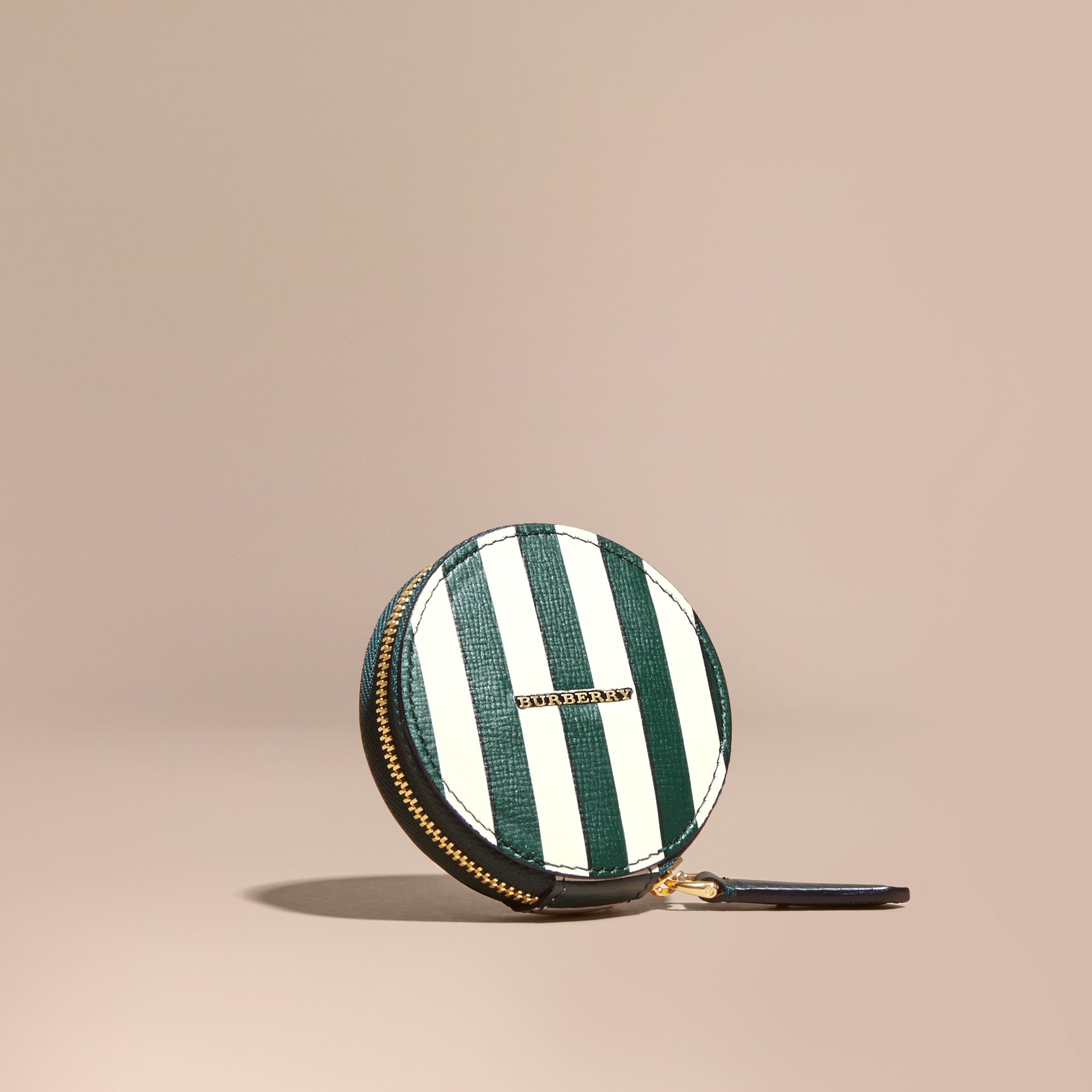 Pyjama Stripe London Leather Coin Case - gallery image 1