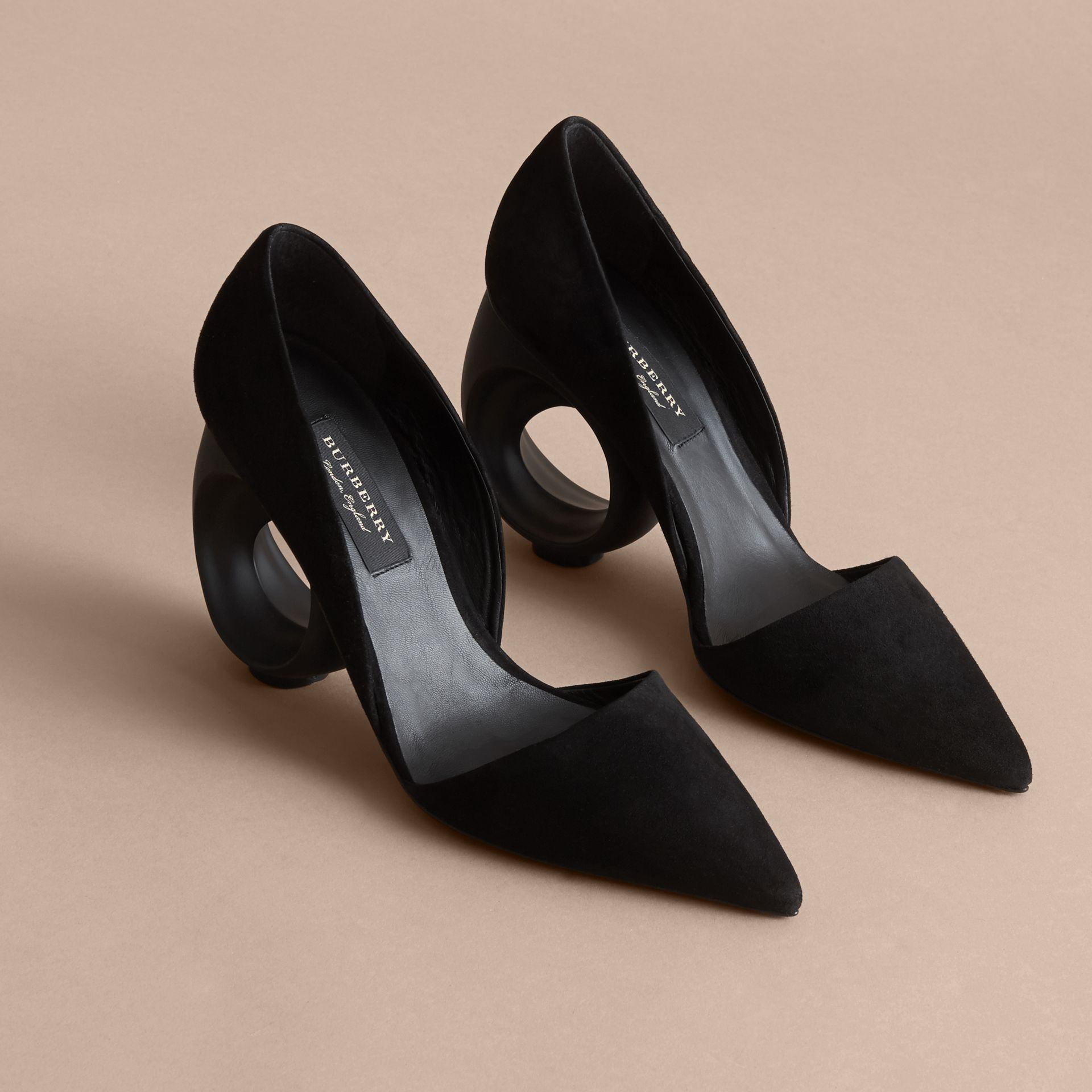 Sculpted Heel Suede Pumps in Black - Women | Burberry - gallery image 3