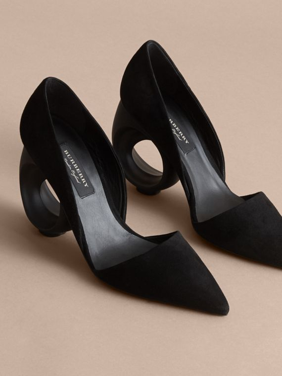 Sculpted Heel Suede Pumps in Black - Women | Burberry - cell image 3
