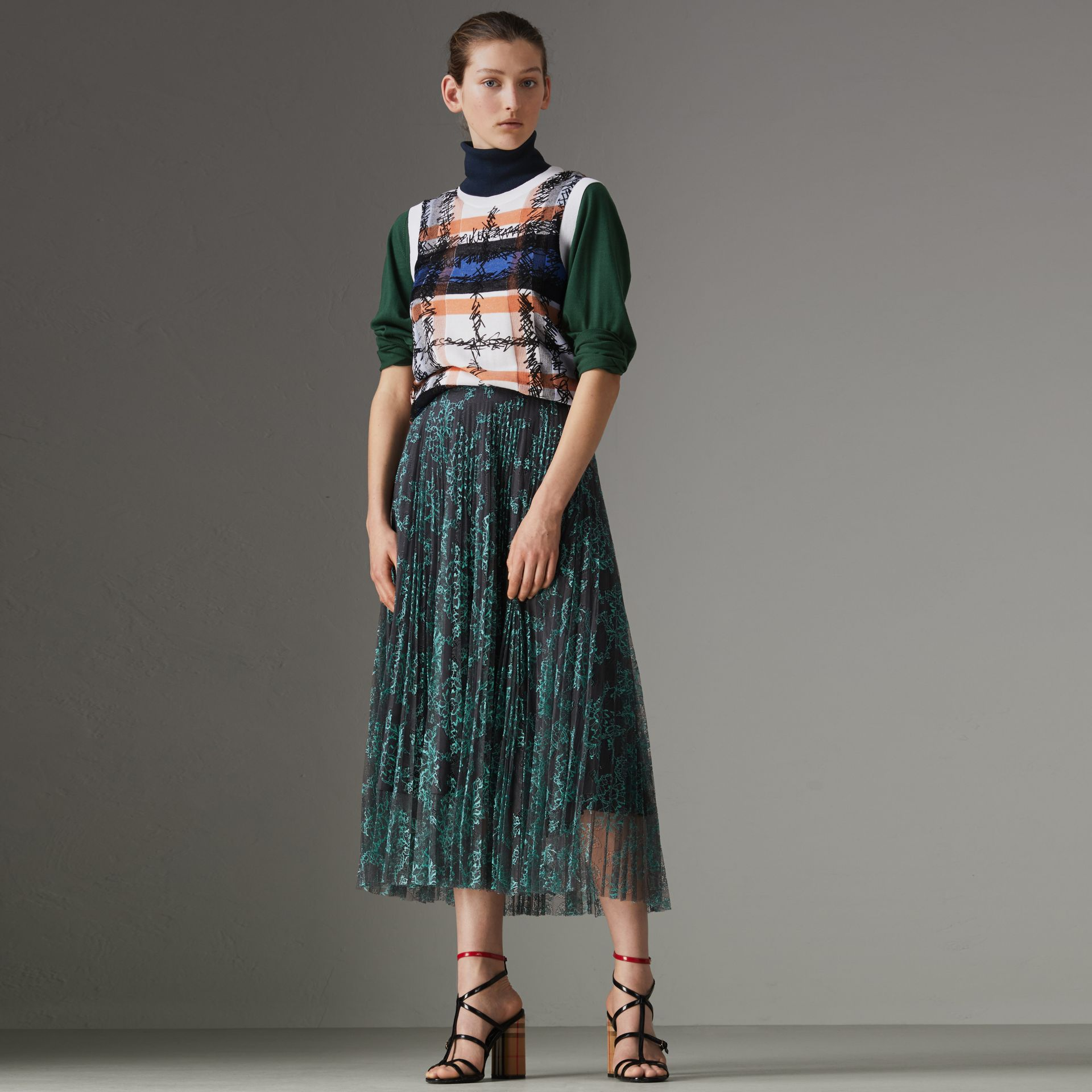 Pleated Lace Skirt in Bright Blue/taupe - Women | Burberry Singapore - gallery image 0