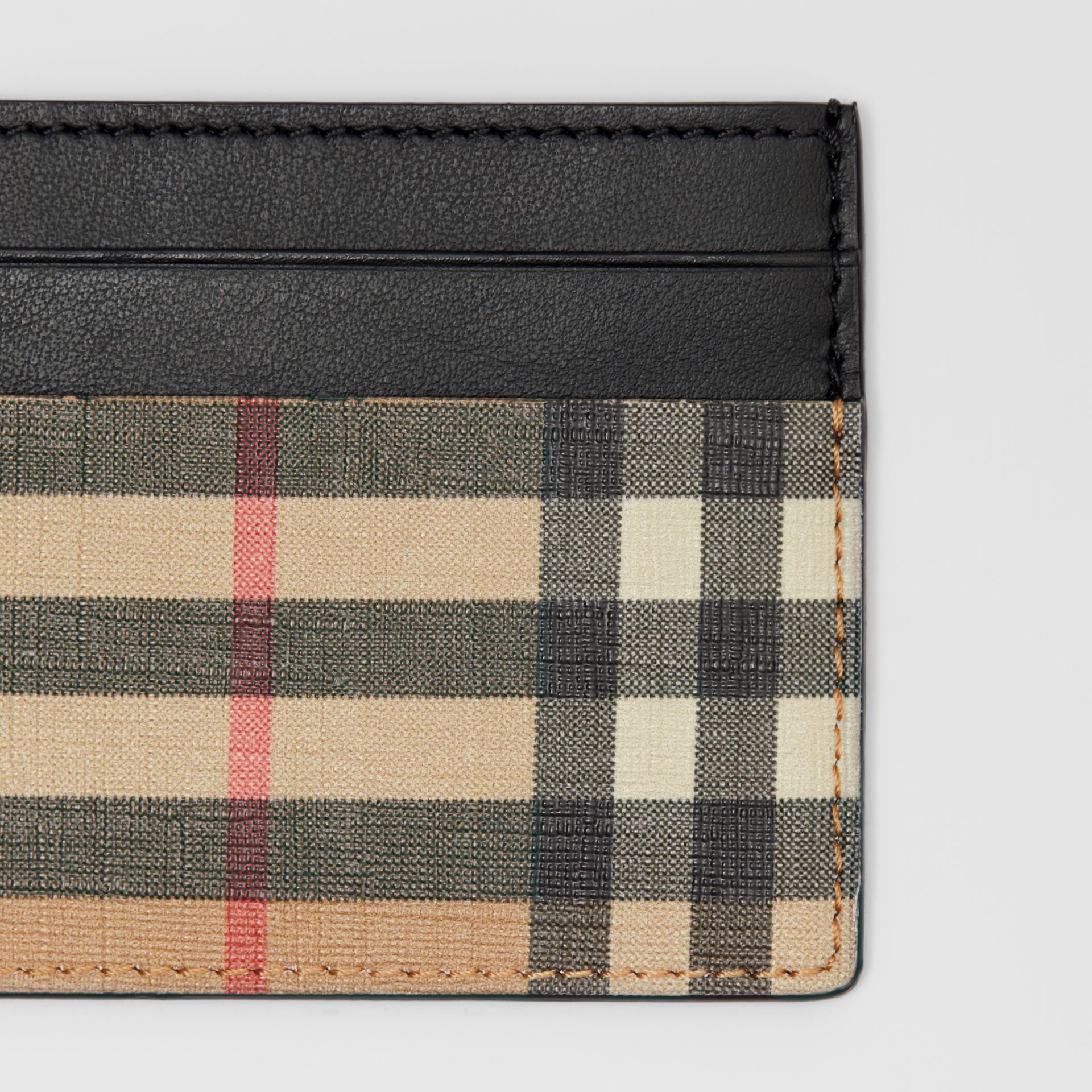 Vintage Check E-canvas and Leather Card Case in Archive Beige - Men | Burberry - gallery image 1