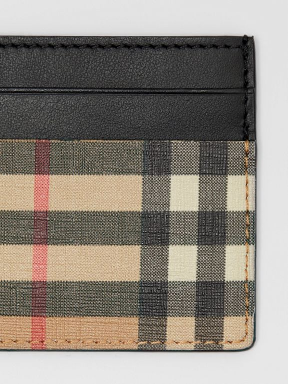 Vintage Check E-canvas and Leather Card Case in Archive Beige - Men | Burberry - cell image 1