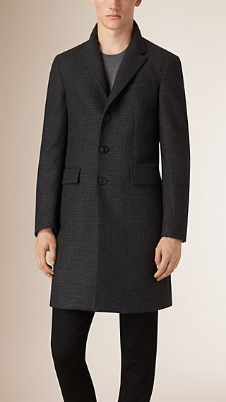 Down-filled Virgin Wool Cashmere Houndstooth Topcoat
