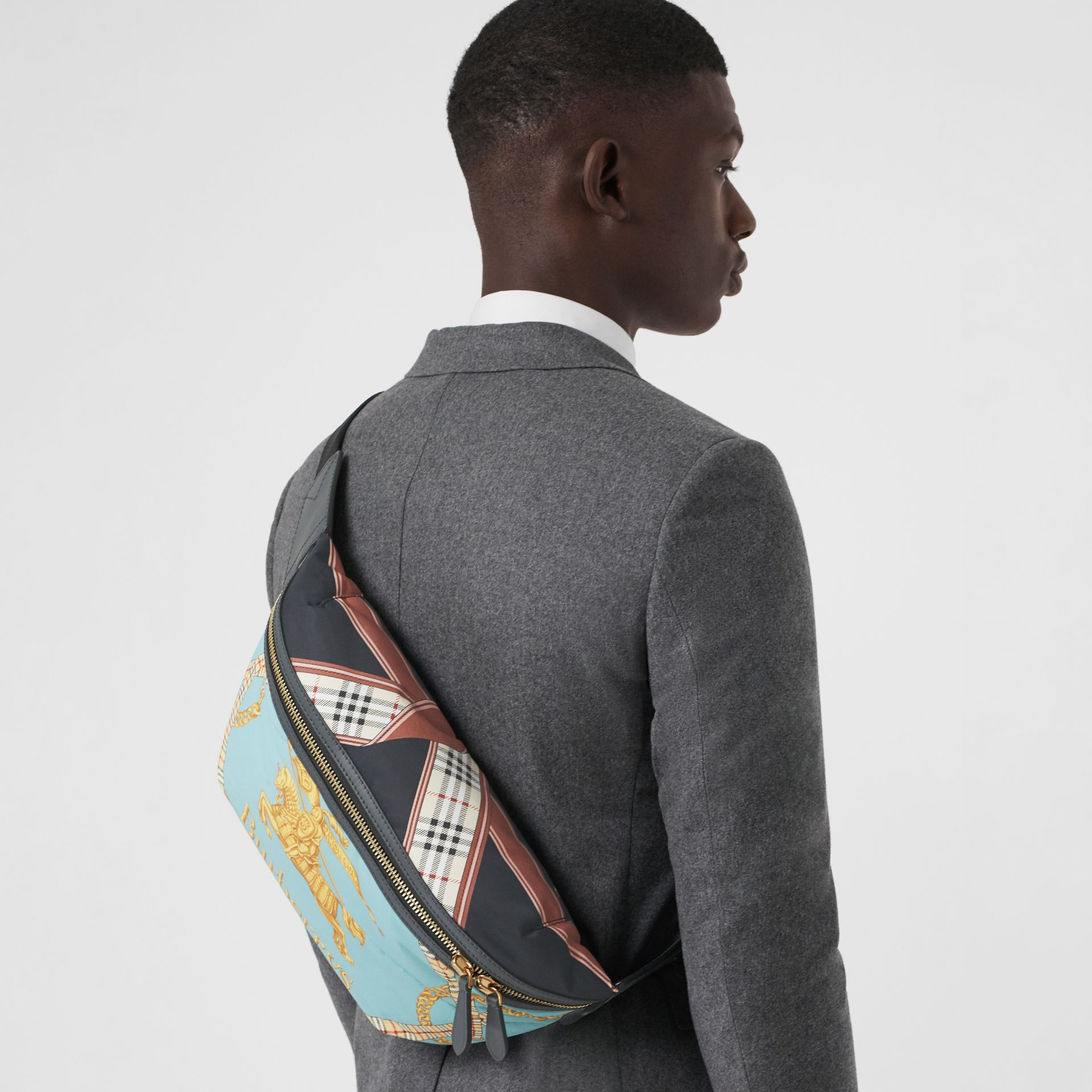 Large Archive Scarf Print Bum Bag in Pale Stone Blue - Men | Burberry - gallery image 3