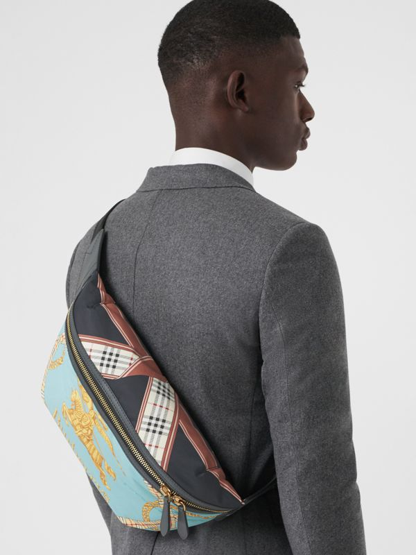Large Archive Scarf Print Bum Bag in Pale Stone Blue - Men | Burberry - cell image 3