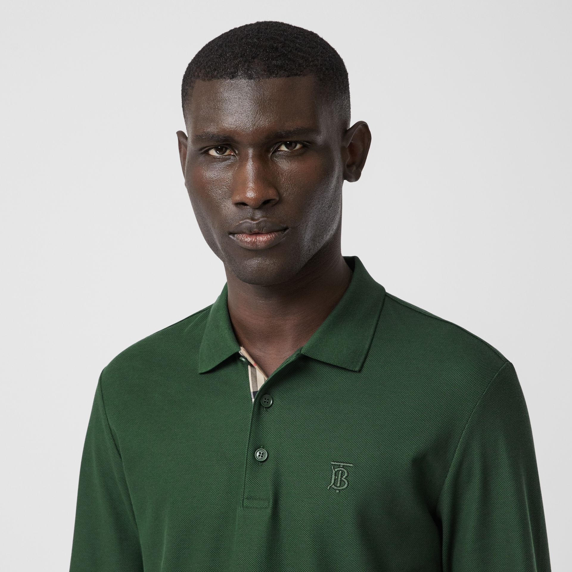 Long-sleeve Monogram Motif Cotton Piqué Polo Shirt in Dark Pine Green - Men | Burberry - gallery image 1