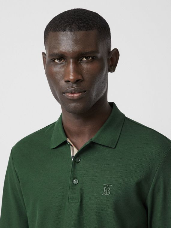 Long-sleeve Monogram Motif Cotton Piqué Polo Shirt in Dark Pine Green