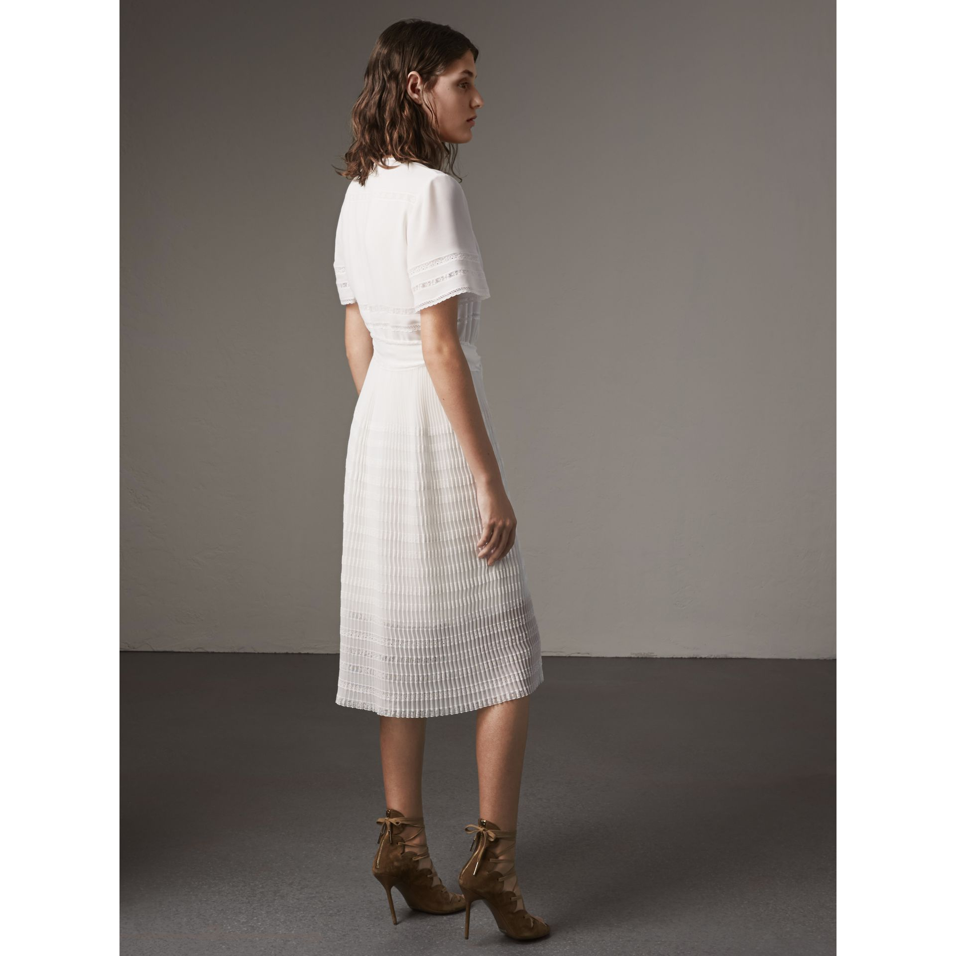 Pleated Georgette Wrap Dress in Natural White - Women | Burberry - gallery image 3