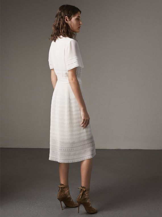 Pleated Georgette Wrap Dress in Natural White - Women | Burberry Canada - cell image 2