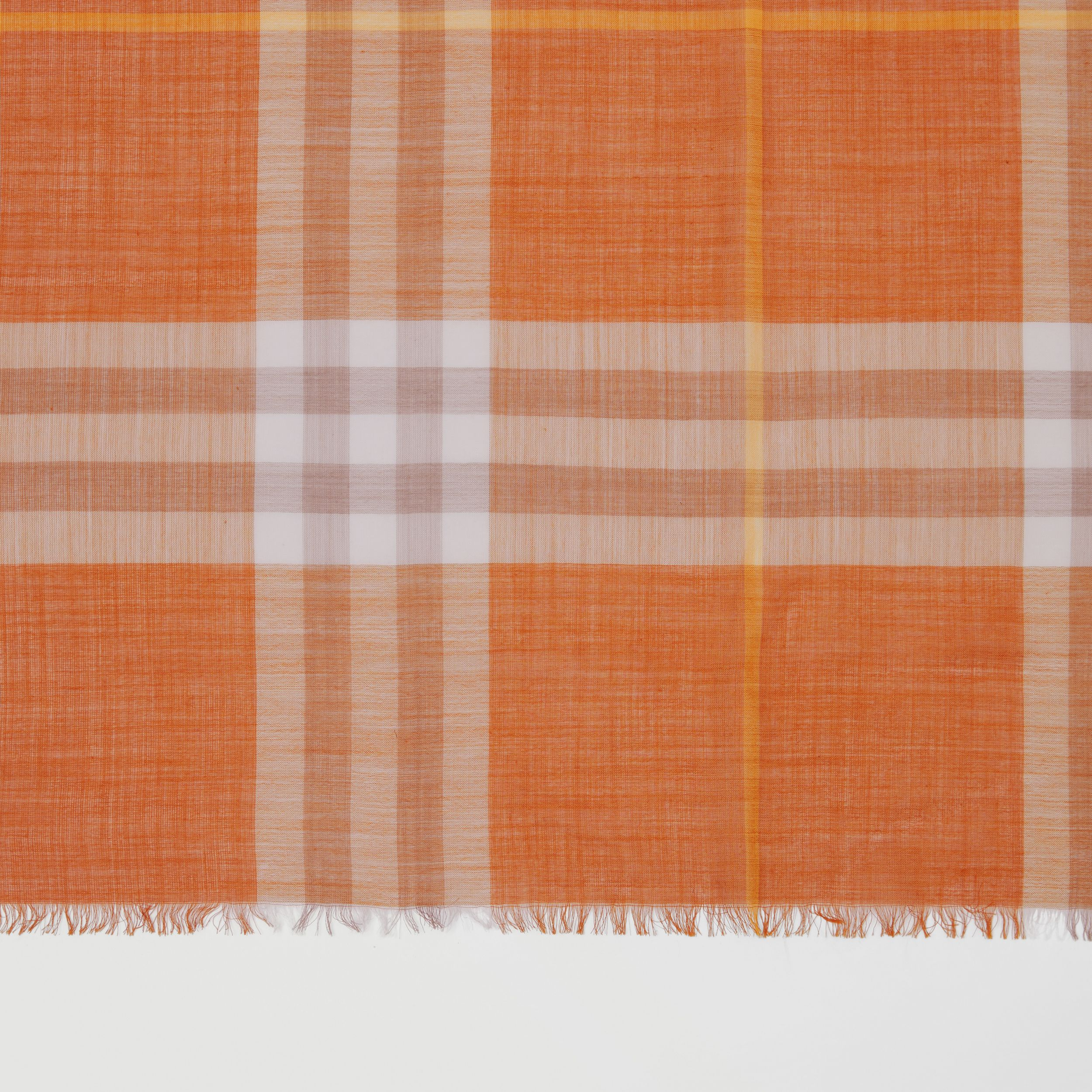 Lightweight Check Wool Silk Scarf in Bright Melon | Burberry - 2