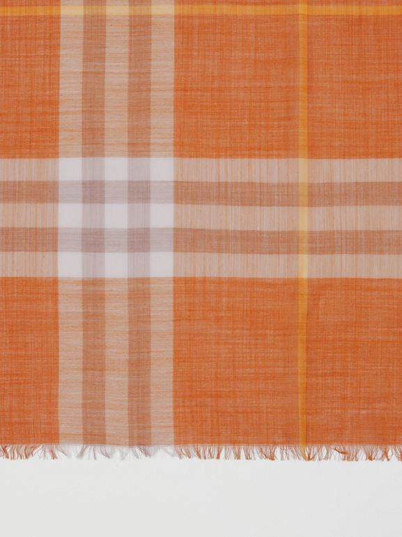 Lightweight Check Wool Silk Scarf in Bright Melon | Burberry United States - cell image 1
