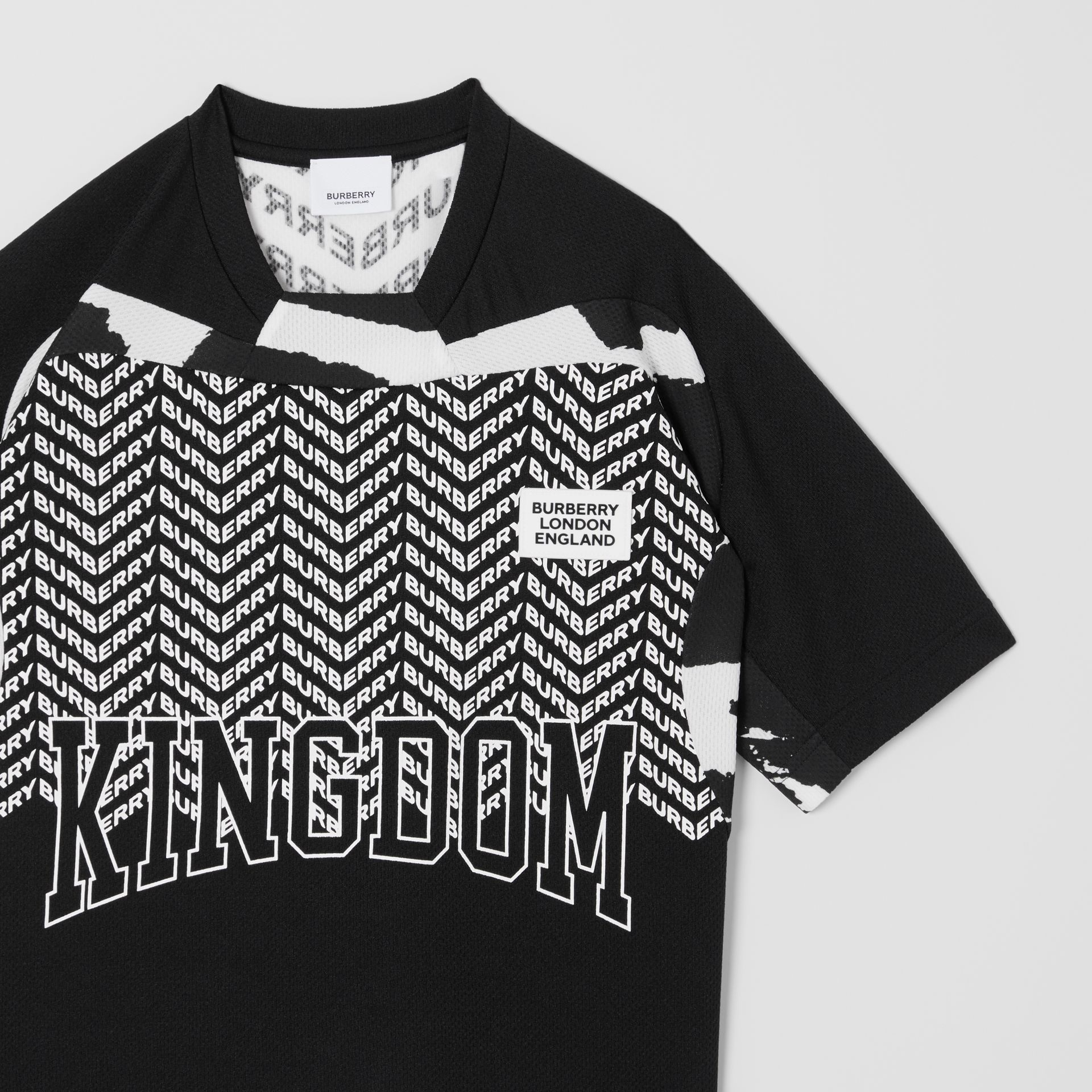 Kingdom Print Mesh T-shirt in Black | Burberry - gallery image 4