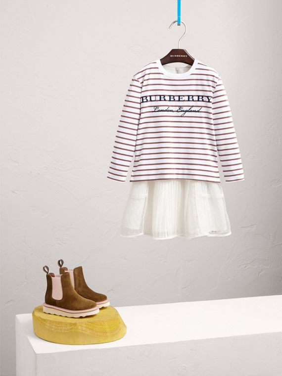 Embroidered Striped Cotton Top in Antique Rose/white