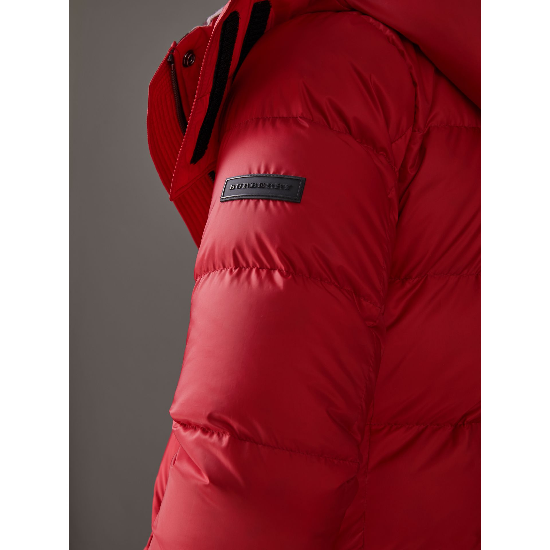 Down-filled Puffer Coat With Detachable Hood in Parade Red - Women | Burberry United Kingdom - gallery image 5