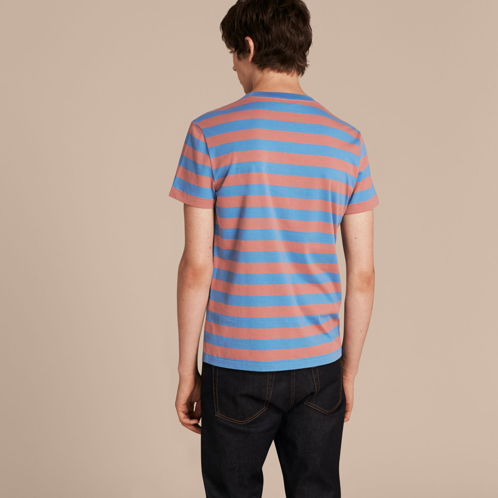 Striped Cotton T-Shirt Rose Pink/chalk Blue - gallery image 3