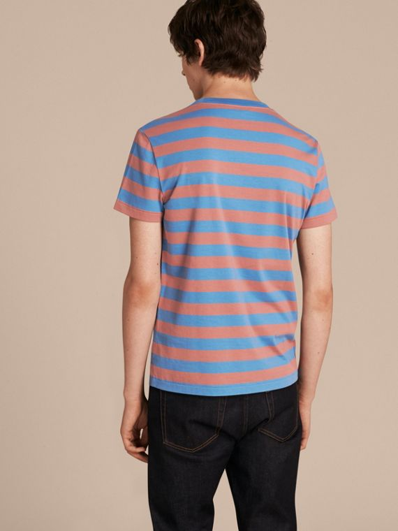 Striped Cotton T-Shirt Rose Pink/chalk Blue - cell image 2