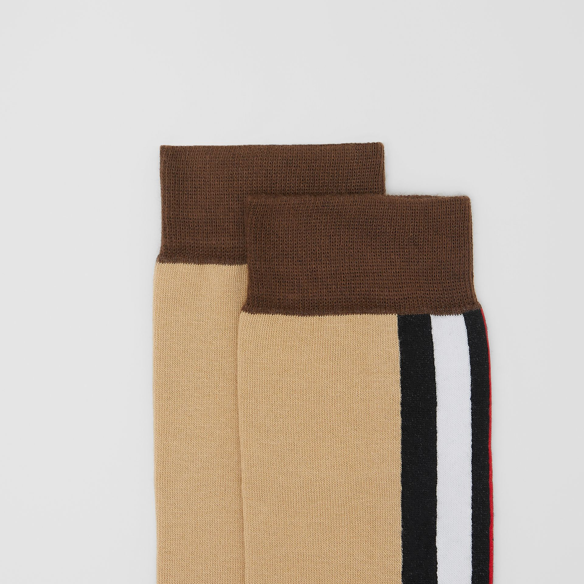 Stripe Intarsia Cotton Blend Socks in Bridle Brown | Burberry United Kingdom - gallery image 1