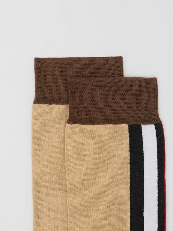 Stripe Intarsia Cotton Blend Socks in Bridle Brown | Burberry - cell image 1