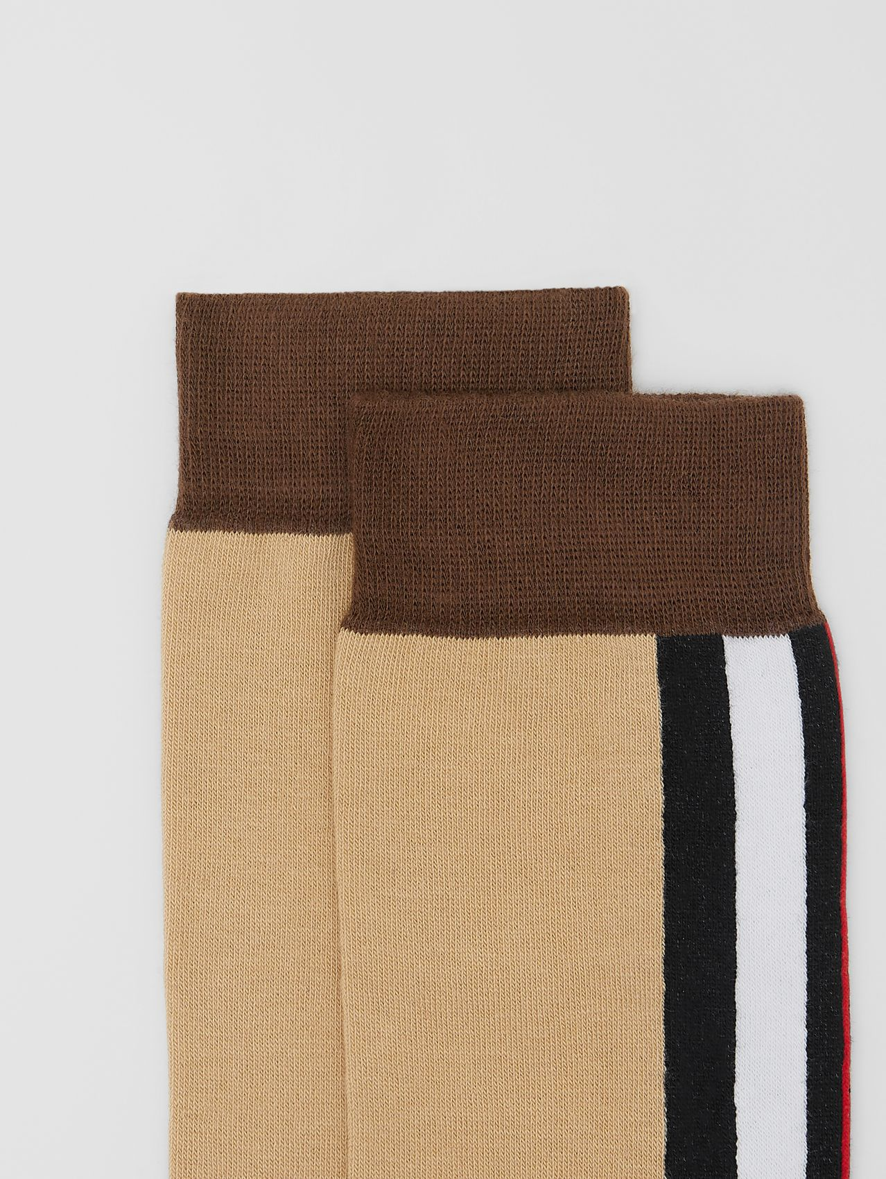Stripe Intarsia Cotton Blend Socks in Bridle Brown