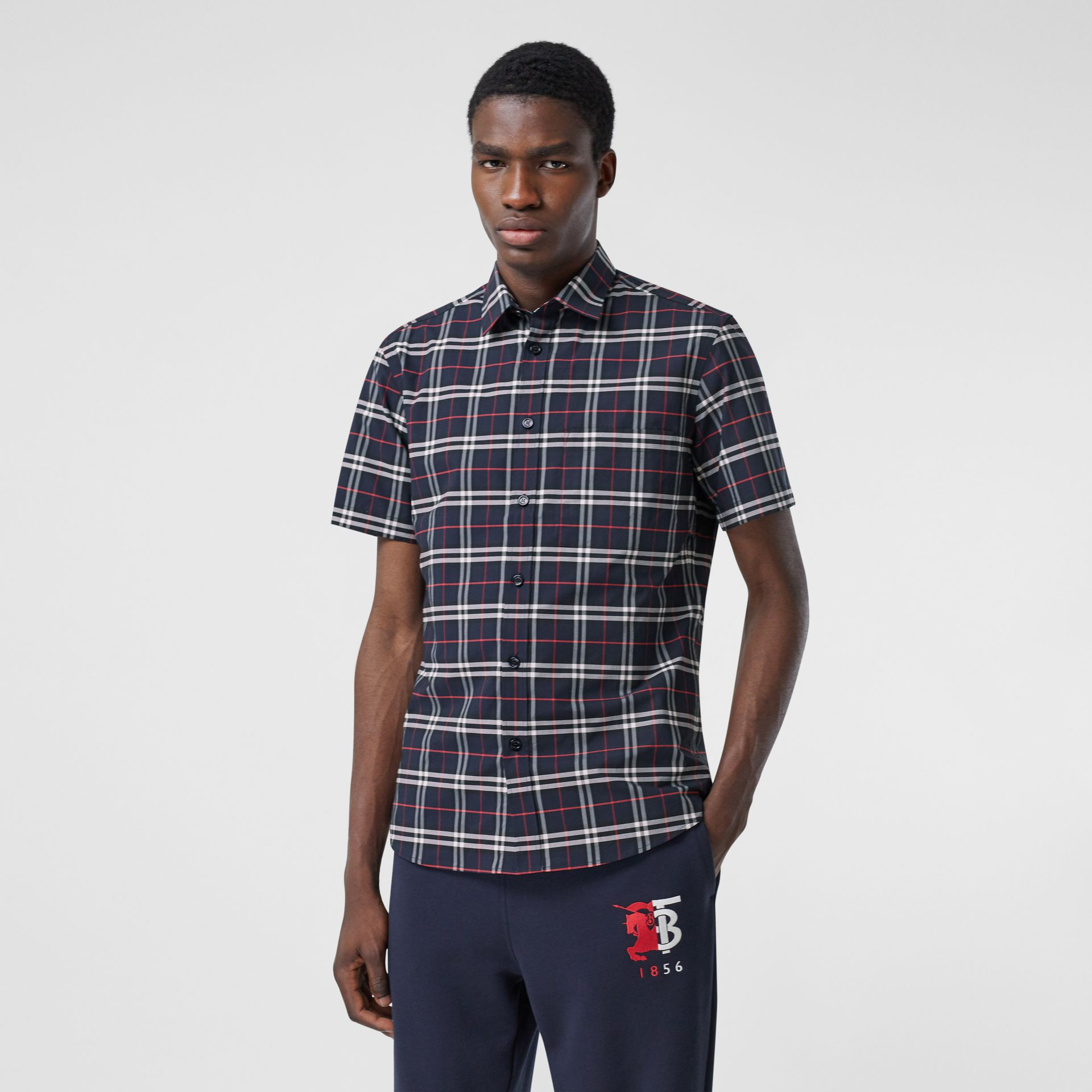 Short-sleeve Small Scale Check Stretch Cotton Shirt in Navy - Men | Burberry - gallery image 4