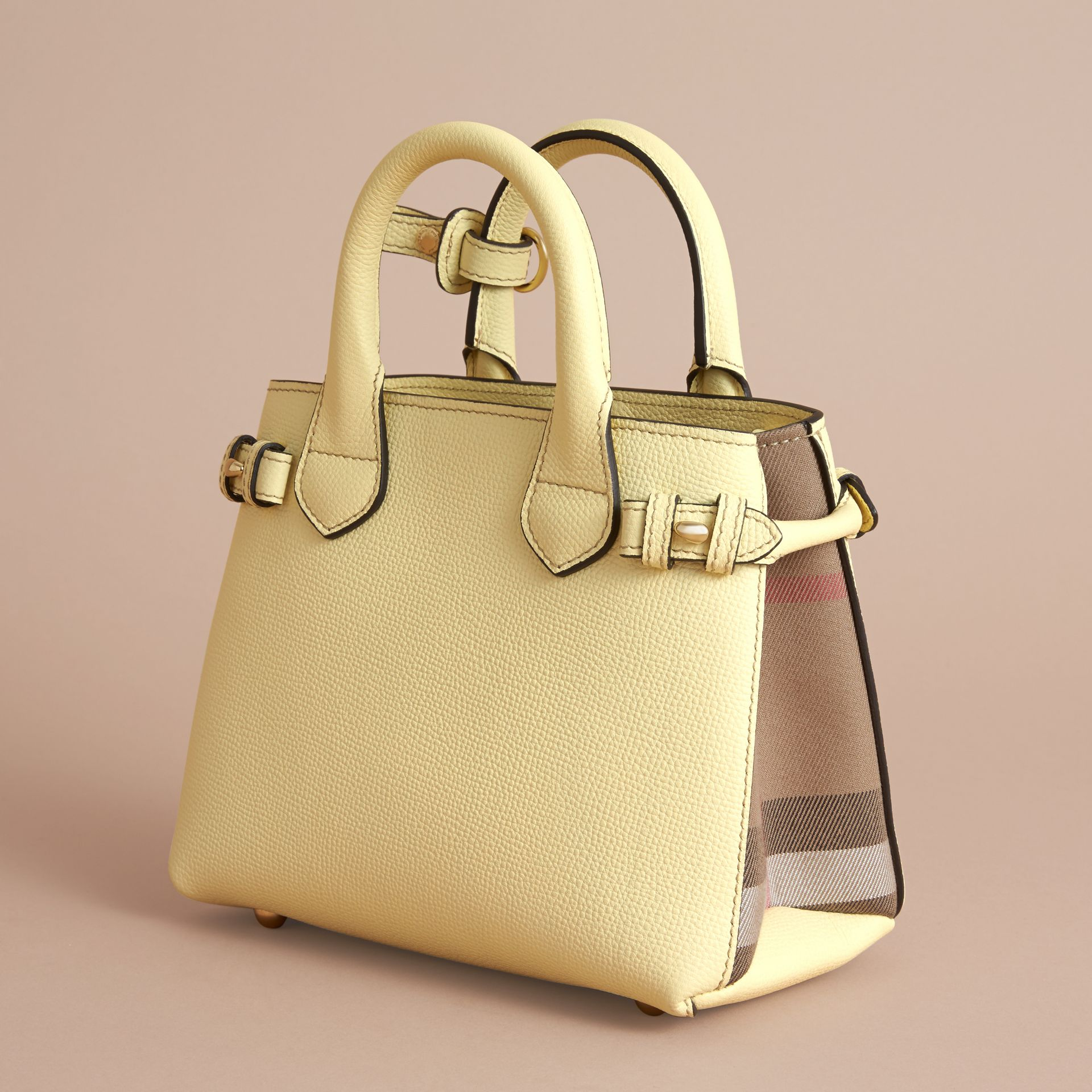 The Baby Banner in Leather and House Check in Camomile Yellow - Women | Burberry - gallery image 4