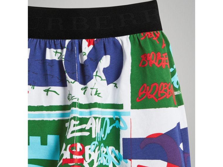 Graphic Text Print Cotton Shorts in Bright Green | Burberry - cell image 4
