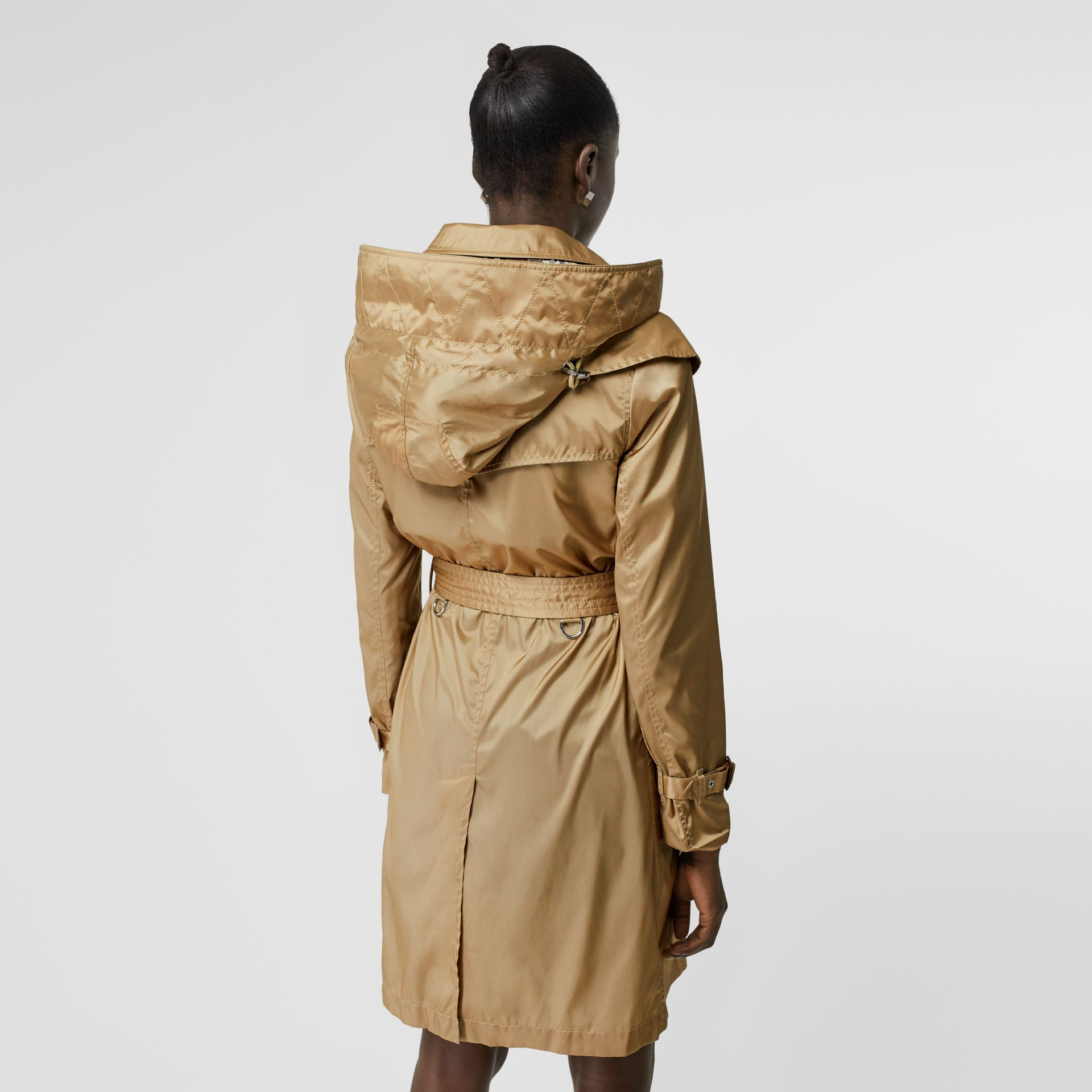 Detachable Hood ECONYL® Trench Coat in Honey - Women | Burberry - gallery image 2