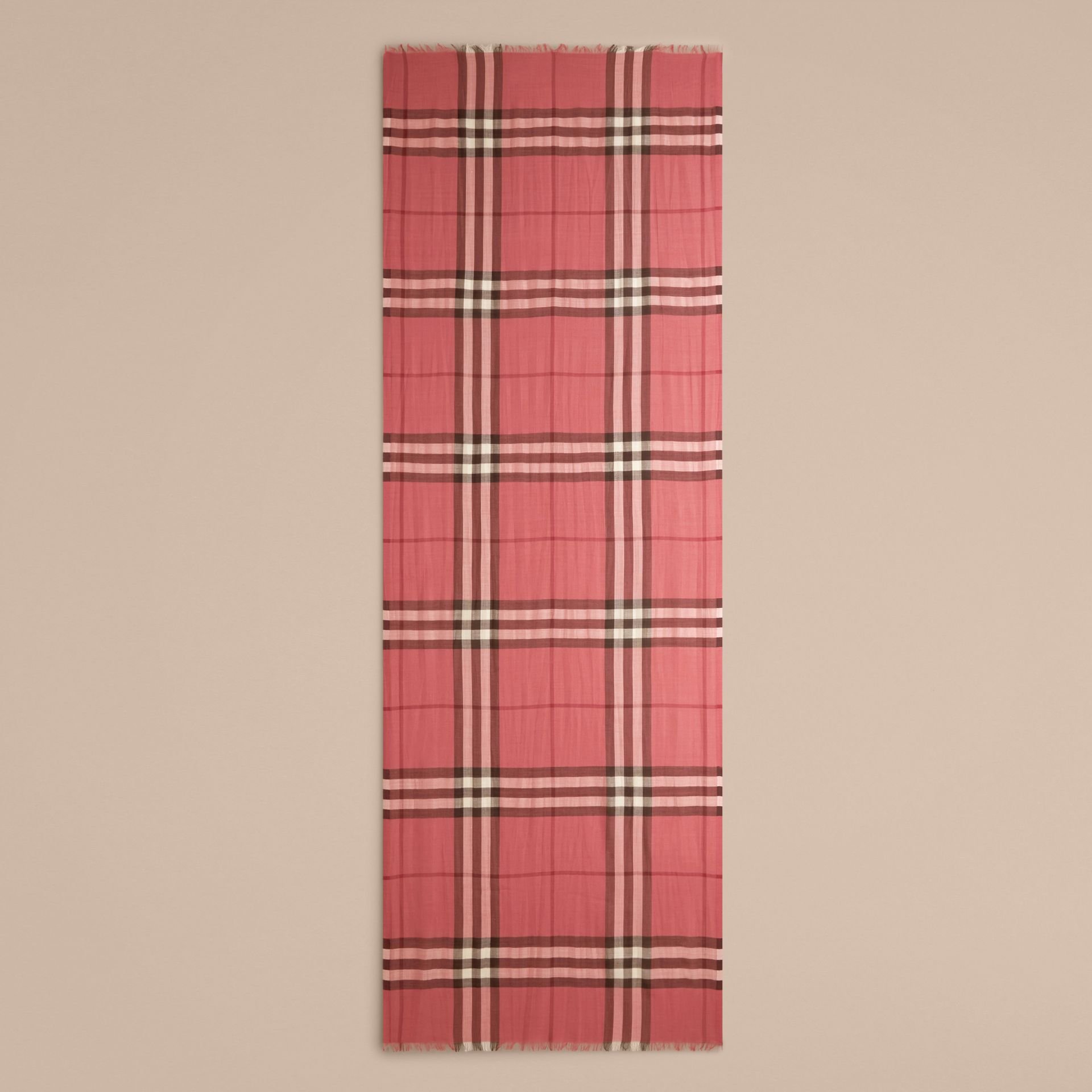 Blush pink Lightweight Check Wool and Silk Scarf Blush Pink - gallery image 4