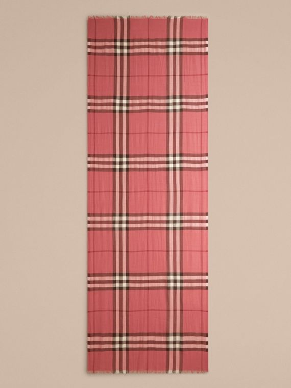 Blush pink Lightweight Check Wool and Silk Scarf Blush Pink - cell image 3