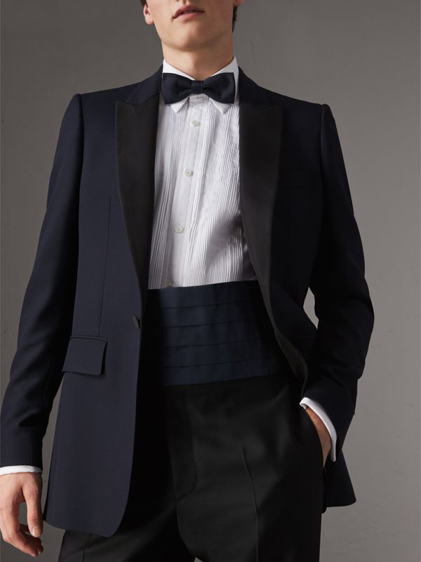 Pleated Silk Cummerbund in Midnight - Men | Burberry United Kingdom - cell image 2