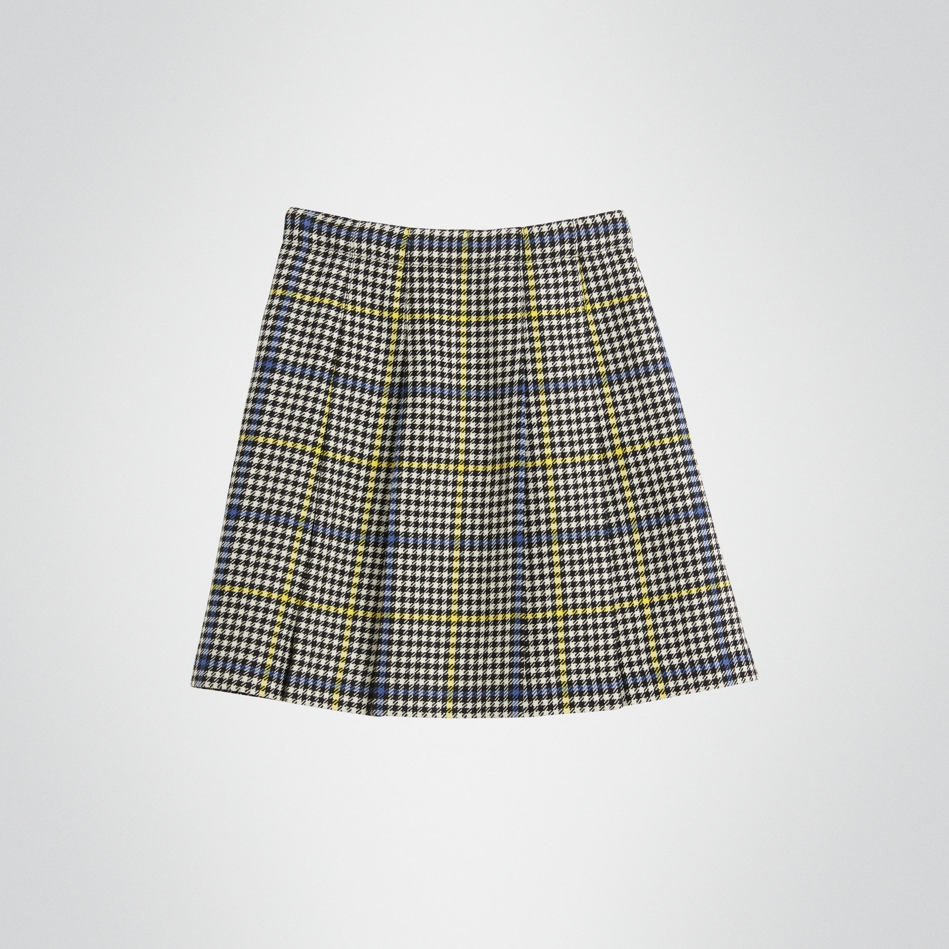 Fringe Detail Houndstooth Check Wool Kilt in Parchment | Burberry Singapore - gallery image 3