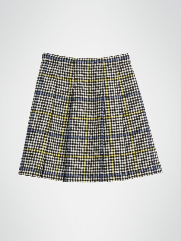 Fringe Detail Houndstooth Check Wool Kilt in Parchment | Burberry - cell image 3