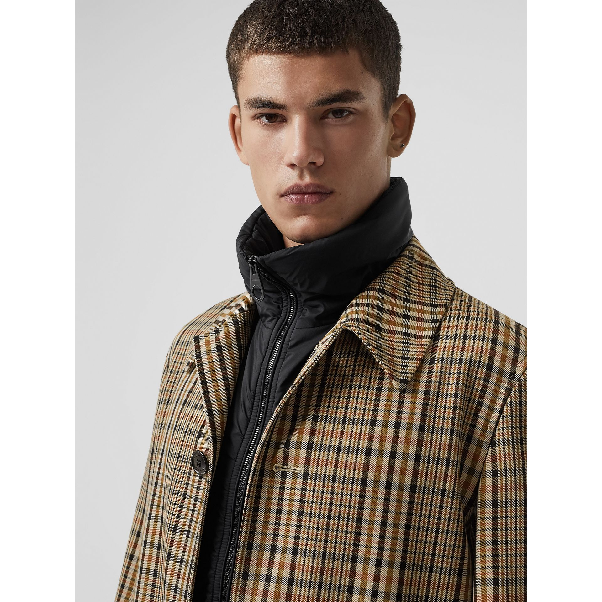 Check Car Coat with Detachable Gilet in Dark Camel - Men | Burberry - gallery image 1