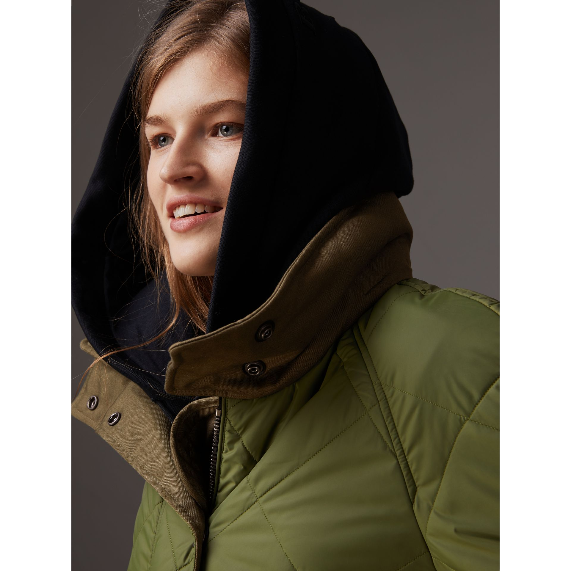 Packaway Hood Diamond Quilted Coat in Olive Green - Women | Burberry United Kingdom - gallery image 1
