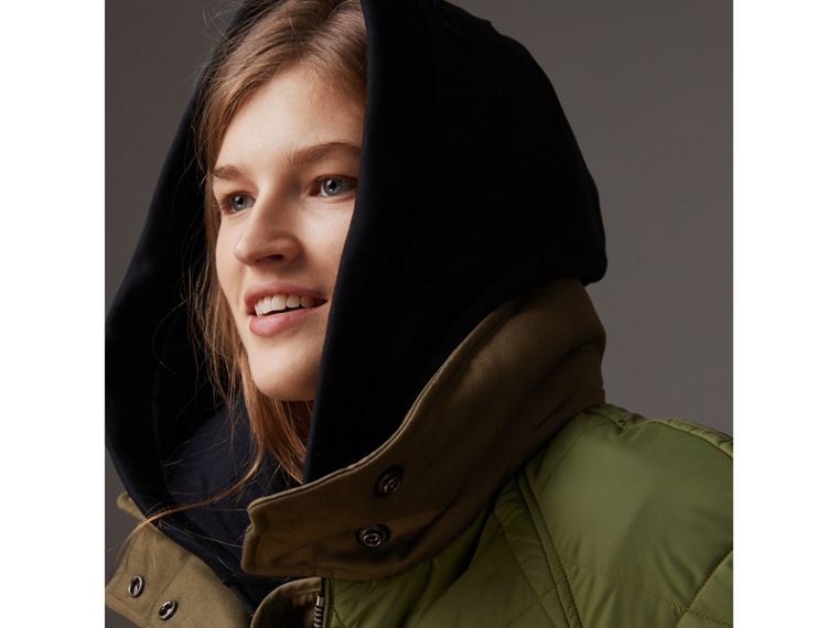 Packaway Hood Diamond Quilted Coat in Olive Green - Women | Burberry Singapore - cell image 1