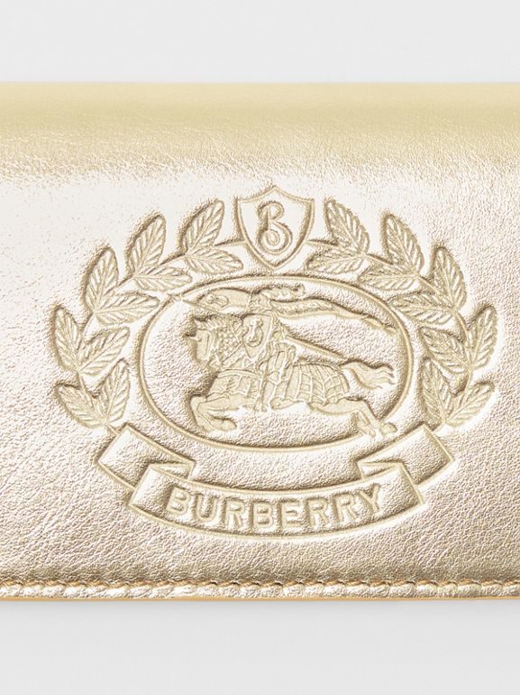 Small Embossed Crest Metallic Leather Wallet in Gold - Women | Burberry - cell image 1