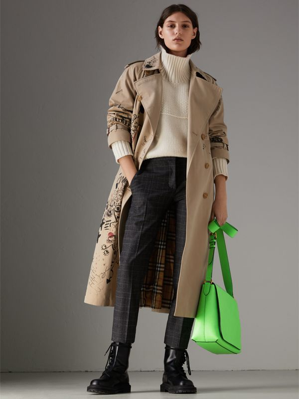 Medium Embossed Leather Messenger Bag in Neon Green | Burberry United Kingdom - cell image 2