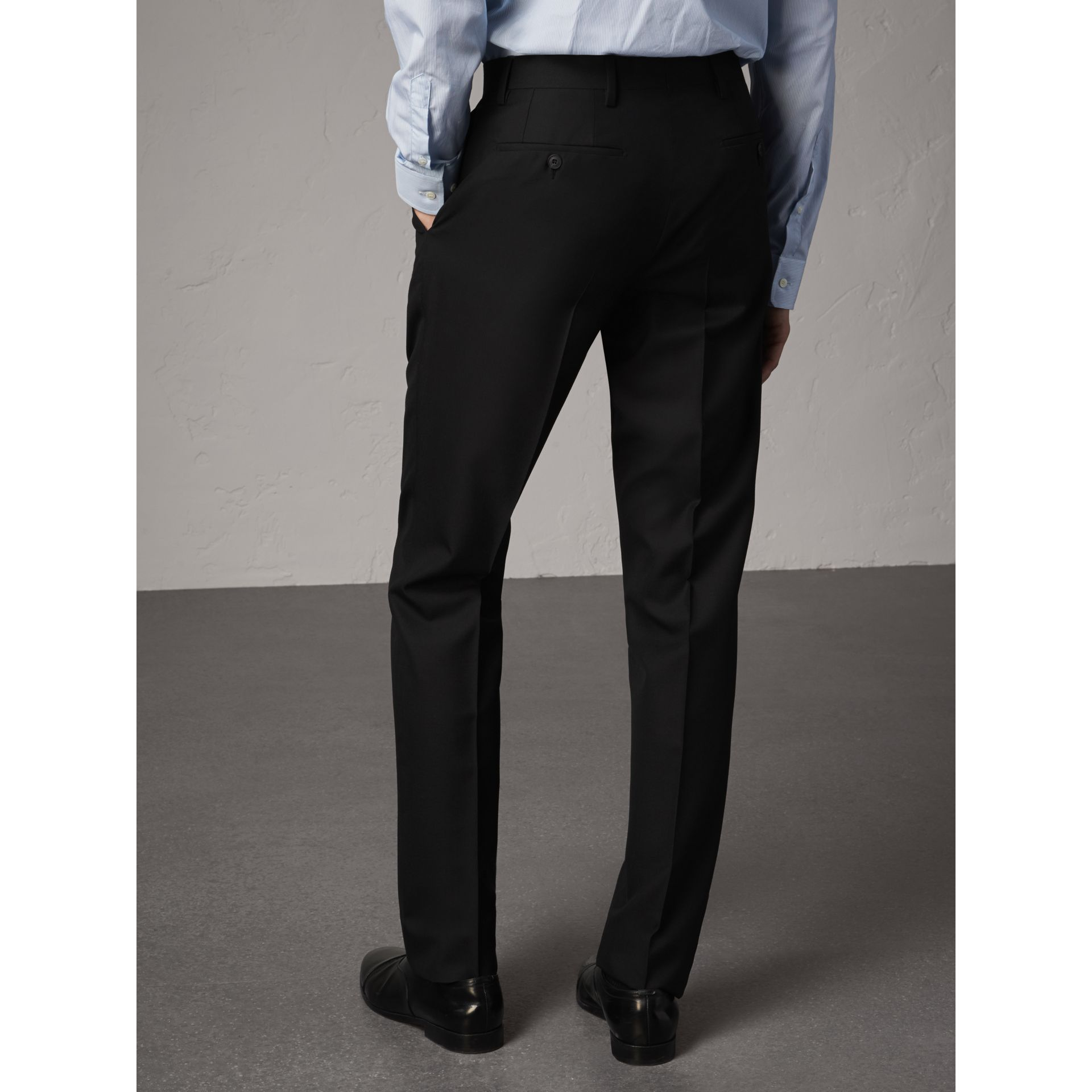 Modern Fit Wool Trousers in Black - Men | Burberry - gallery image 3