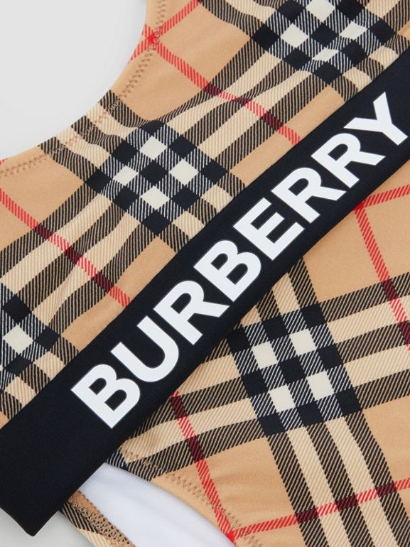 Logo Print Vintage Check Bikini in Archive Beige | Burberry - cell image 1