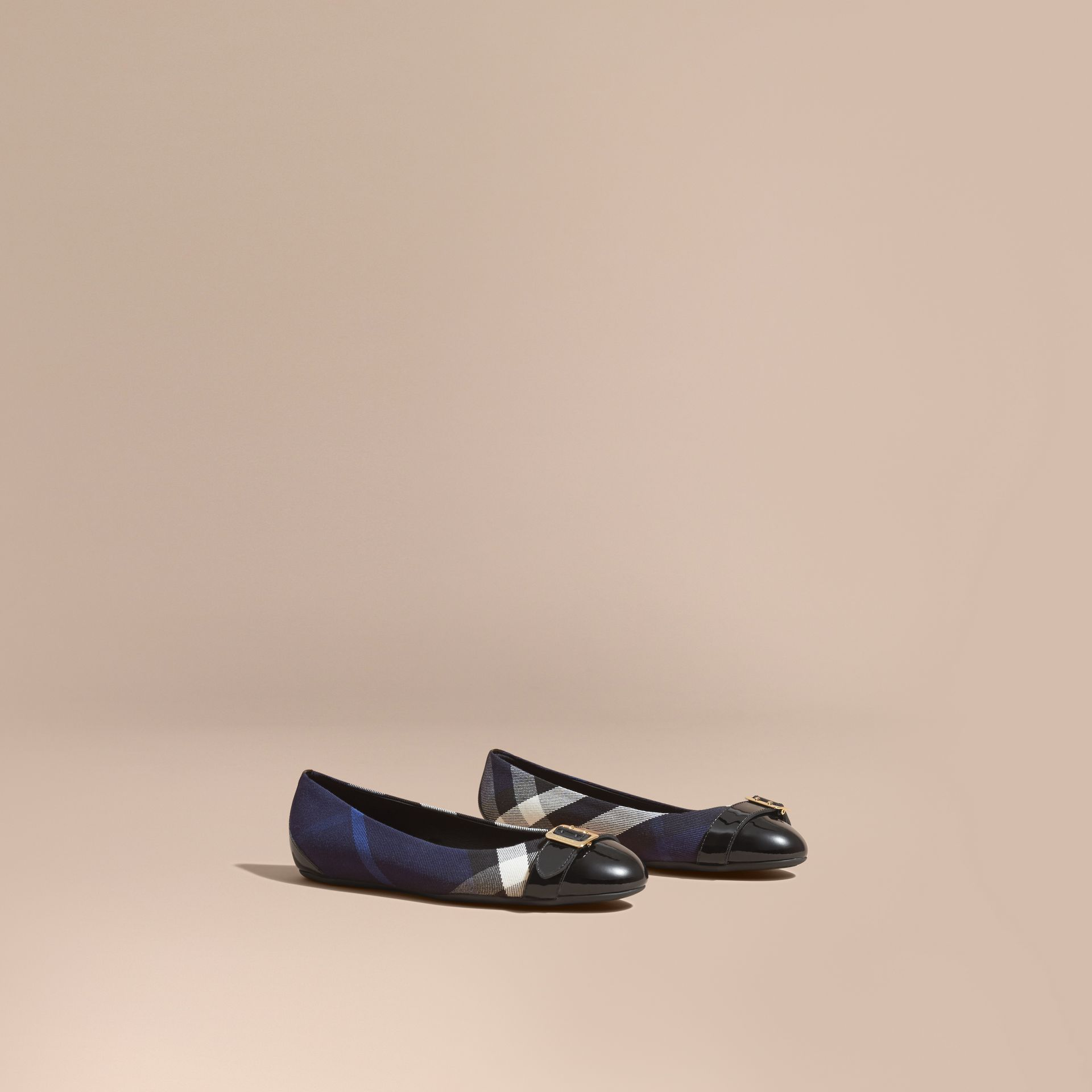 Buckle Detail House Check and Patent Leather Ballerinas in Indigo Blue - gallery image 1