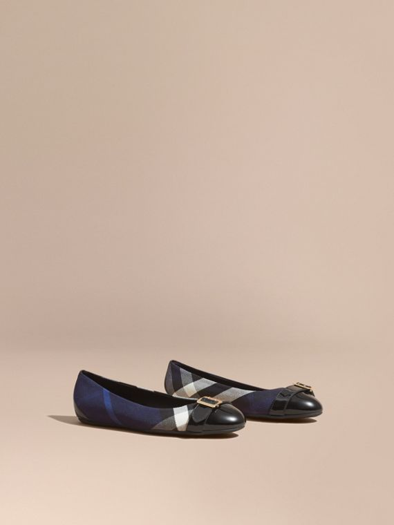 Buckle Detail House Check and Patent Leather Ballerinas in Indigo Blue - Women | Burberry