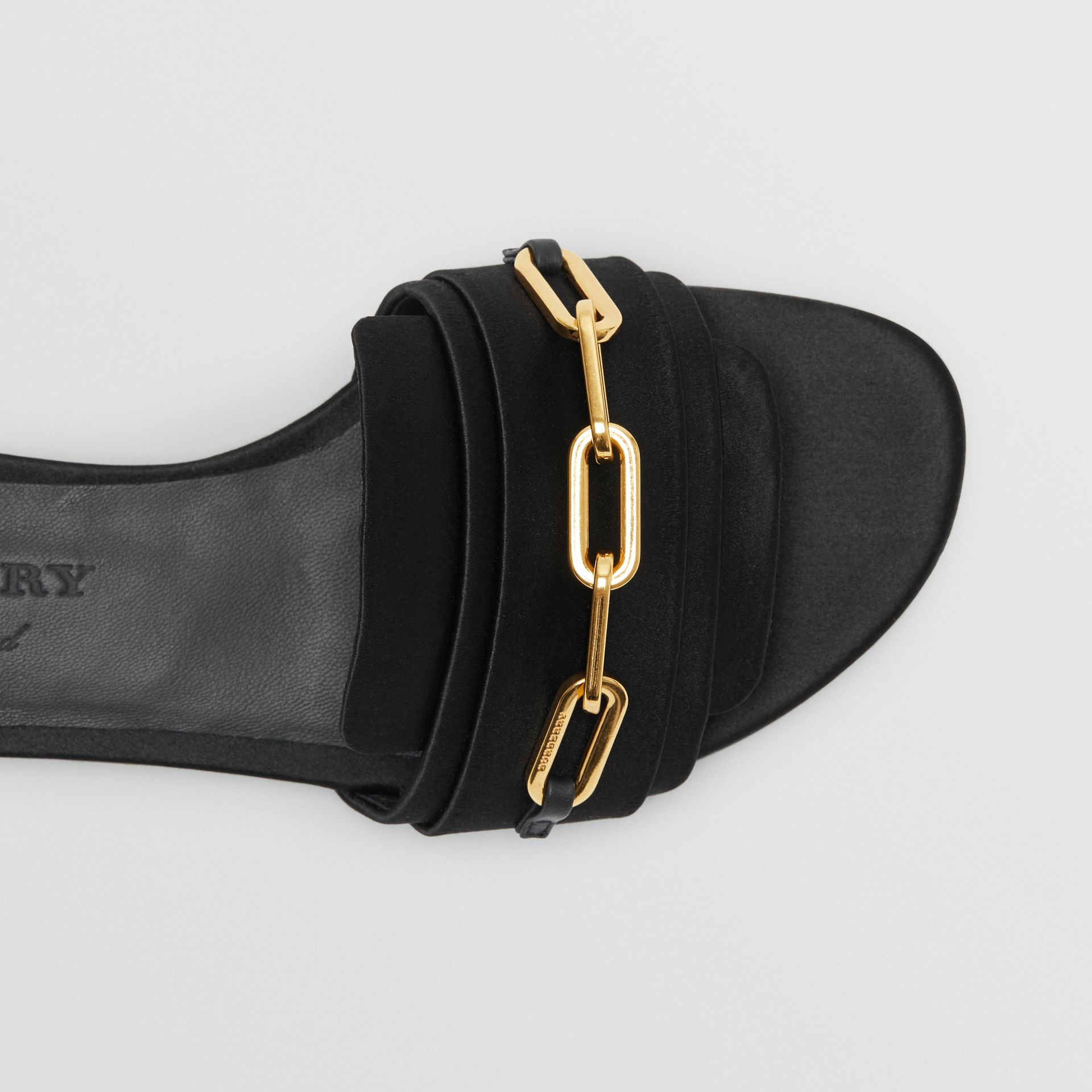 Link Detail Satin and Leather Slides in Black - Women | Burberry - gallery image 1