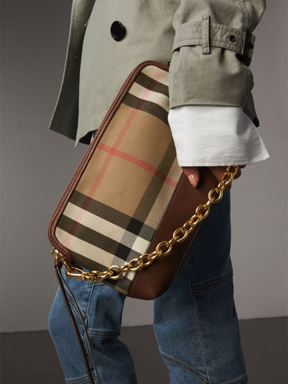 House Check and Leather Clutch Bag in Tan - Women | Burberry Canada - cell image 3