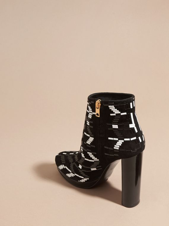 Black Beaded Suede Platform Ankle Boots - cell image 3