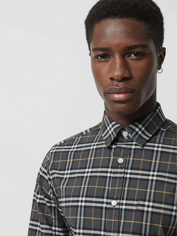 Check Stretch Cotton Shirt in Dark Grey - Men | Burberry Hong Kong - cell image 1