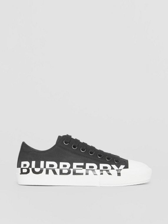 Logo Print Two-tone Cotton Gabardine Sneakers in Black/white