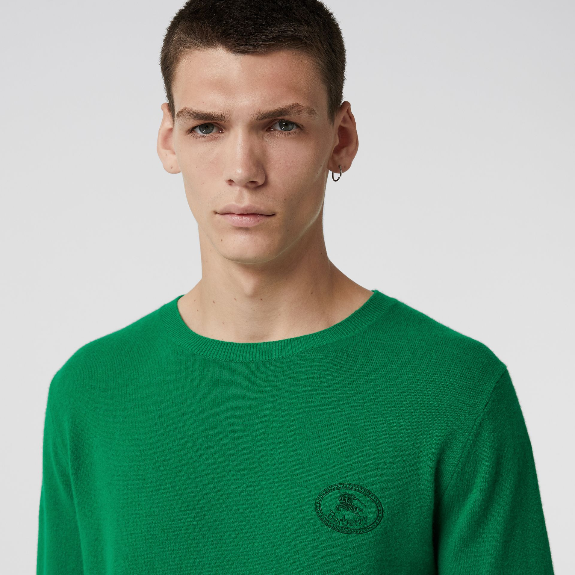 Embroidered Archive Logo Cashmere Sweater in Bright Green - Men | Burberry - gallery image 1